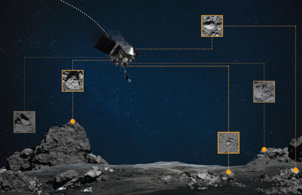OSIRIS-REx bude během sestupu určovat svou pozici podle porovnávání aktuálně pořízených snímků s útvary uloženými v paměti.