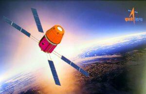 Poslední známý vzhled kosmické lodi Gaganyaan. Všimněte si servisní sekce, která nově ukazuje 4 solární panely místo dvou.