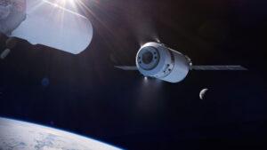Ilustrace nákladní lodě Dragon XL po oddělení od druhého stupně rakety Falcon Heavy na vysoké oběžné dráze Země.
