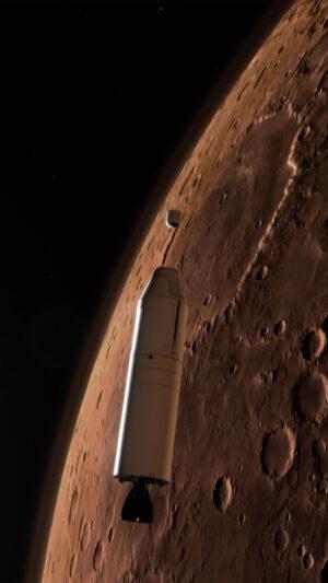 Umělecká představa - raketa MAV uvolňuje pouzdro se vzorky na oběžné dráze Marsu.