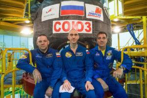 Posádka Sojuzu MS-16. Zleva: Vagner - Ivanišin - Cassidy.