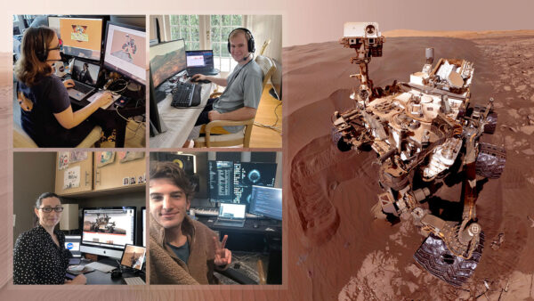 Fotografie operátorů roveru Curiosity pořízené 20. března - první den, kdy všichni pracovali z domova.