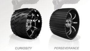 Porovnání kol roverů Curiosity a Perseverance.