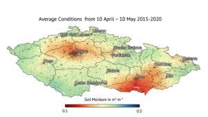Průměrná vlhkost půdy v ČR mezi 10. dubnem a 10.květnem mezi roky 2015 a 2020.