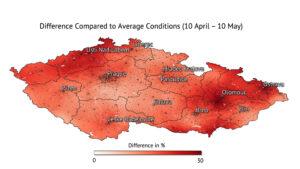 Rozdíly vlhkosti půdy v ČR za období 10. dubna - 10. května ve srovnání se stejným obdobím v uplynulých šesti letech.