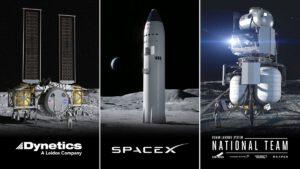 Tři finalisté výběru NASA na pilotované lunární landery.