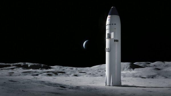 Koncept pilotované Starship na Měsíci