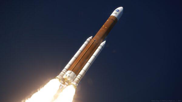 Umělecká představa rakety SLS Block 1B Cargo