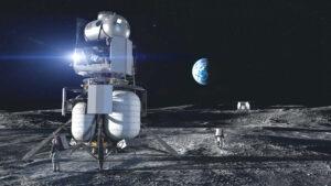 Koncept landeru národního týmu. Sestupový modul má zajistit Blue Origin, vzletový modul Lockheed Martin.