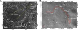 Místo přistání a cesta Nefritového králíka v průběhu radarových měření analyzovaných v článku Chunlai Li et al, Science Advances, Vol. 6, No. 9, 26 February 2020