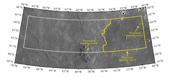 Místo navrhované pro přistání sondy, ve středu v dolní části je Mons Rümker. Navrhované místo A by umožnilo získat mořský lávový materiál a zároveň jde o relativně hladký povrch, umožňující bezpečné přistání.