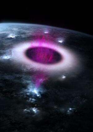 Umělecká představa emisí ve více vlnových délkách podle měření přístroje ASIM. Světle modrá odpovídá blesku, fialová představuje výboj TGF a bílo-červeně je zobrazen elf - expandující kruh ultrafialového záření vyvolaný elektromagnetickým pulsem.