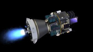 Vizualizace práce horního stupně AVUM rakety Vega s plně osazeným dispenzerem SSMS.