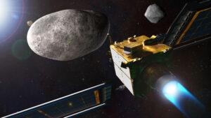 Vizualizace mise DART krátce před kolizí.
