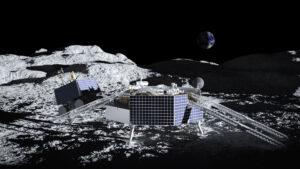 VIPER sjíždí vstříc lunárnímu regolitu.