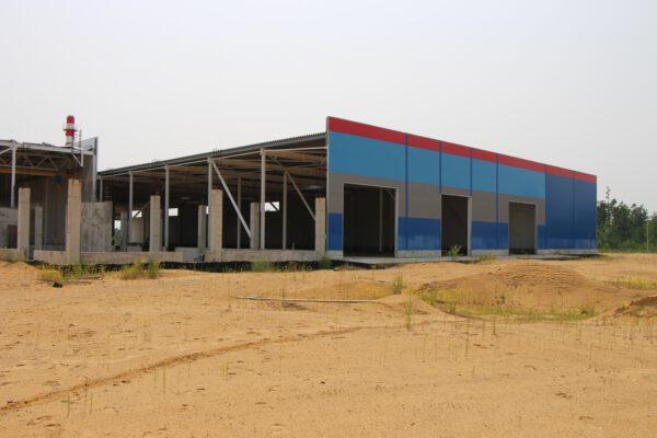 Rozestavěné středisko pro sbírání a zpracování odhozených prvních a pomocných stupňů raket