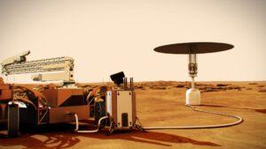 Umělecká představa energetického zdroje, který na Marsu vyrábí elektřinu štěpnou reakcí.