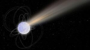 Umělecká představa magnetaru, který uvolňuje radiový záblesk.