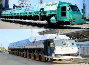 Nahoře je starší typ transportéru ML pro rakety H-II v typicky zelené připomínající housenku. V dolní části je nový transportér pro rakety H-III.