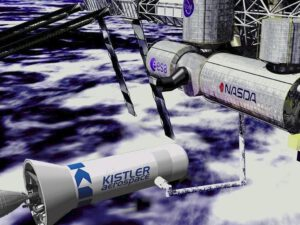 Druhý stupeň rakety Kistler, který je zároveň kosmickou lodí, přilétá k ISS
