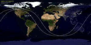 Zpětně dopočítaná pozice sledovaných objektů až do času 8 minut po startu rakety Minotaur IV.