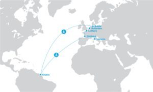 Mapa ukazuje trasu z evropských přístavů: Brémy, Rotterdam, Le Havre, Bordeaux a Livorno, kde bude docházet k nakládce dílu rakety Ariane 6.