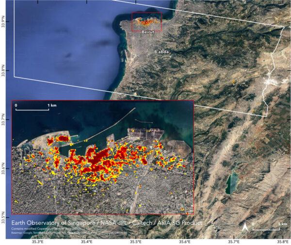 Sentinel 1A zmapoval škody po explozi v bejrútském přístavu.