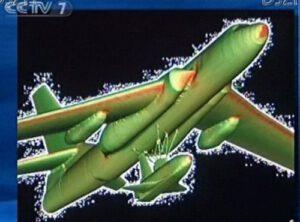 Umělecká představa miniraketoplánu Šen-lung (Shenlong) pod bombardérem H-6K.