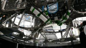 Kostra třetího evropského servisního modulu - do kruhových otvorů se vsadí nádrže.