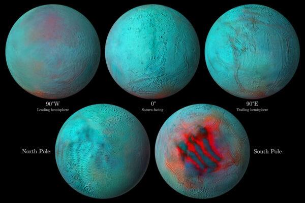 Snímky Enceladu s popisky.