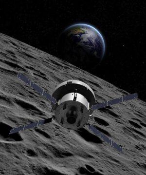 Umělecké ztvárnění Orionu u Měsíce