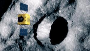 Sonda Hera v představách umělce studuje kráter vytvořený dopadem sondy DART.