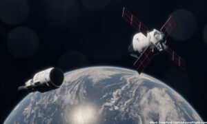 Umělecké ztvárnění přiblížení Orionu k ICPS. Autor: Mack Crawford / NASASpaceFlight.com