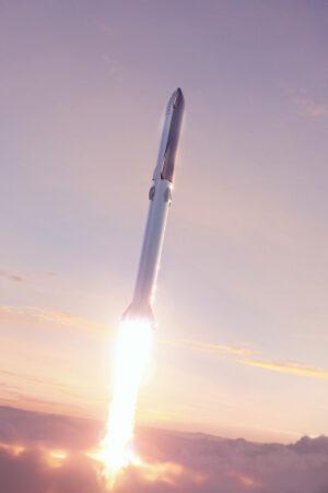 Vizualizace startu zhruba 120 metrů vysoké sestavy Super Heavy - Starship.