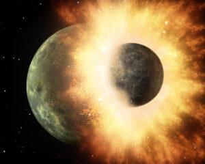 Uměleckká představa události, ke které došlo před několika miliardami let. Do mladé Země narazila protoplaneta Theia - z úlomků se pak zformovala Země a Měsíc.