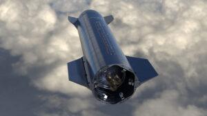 Umělecká představa skoku Starship SN8