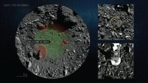 Analýza snímků ukazuje, že sonda se dotkla povrchu pouhý 1 metr od středu odběrné oblasti.