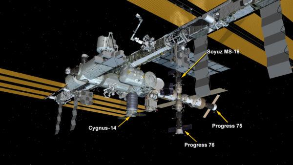 Aktuální stav Mezinárodní kosmické stanice po připojení lodi Cygnus.