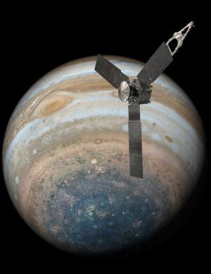 Umělecká představa sondy Juno u Jupiteru (fotka planety pochází právě od sondy Juno)