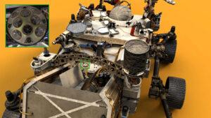 Koutový odražeč LaRA (Laser Retroreflector Array) na roveru Perseverance.