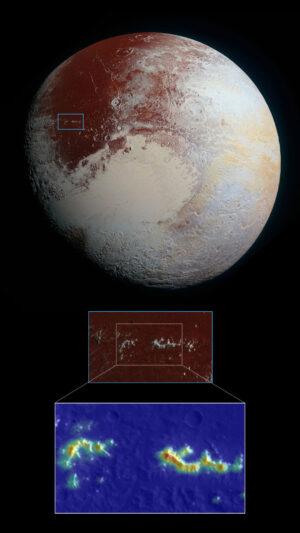 Snímek Pluta pořízený v roce 2015 sondou New Horizons. V detailu vidíme pohoří Pigafetta Montes. Obrázek v nepravých barvách ukazuje koncentrace ztuhlého metanu. Ty jsou nejvyšší ve větších výškách a směrem k úpatím hor koncentrace klesá až k modré barvě.