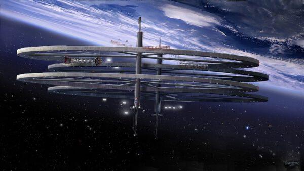 Umělecká představa obří stavby ve vesmírů. Vizí společnosti Blue Origin je přesunout průmysl do kosmu.