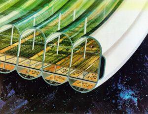 Ilustrace rozdělení sektorů uvnitř vesmírného ostrova podle návrhu profesora O'Neilla.