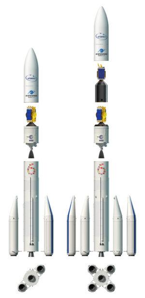 Obě verze rakety Ariane 6 , tedy Ariane 62 a Ariane 64.