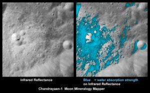 V roce 2009 indická sonda Čandraján-1 definitivně potvrdila přítomnost vody na Měsíci. Na obrázku je vidět mladý kráter na odvrácené straně Měsíce tak, jak jej zmapoval přístroj NASA Moon Mineralogy Mapper na palubě sondy.