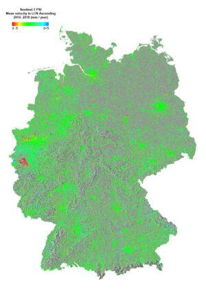 Posuny terénu v Německu mezi roky 2014 a 2018.