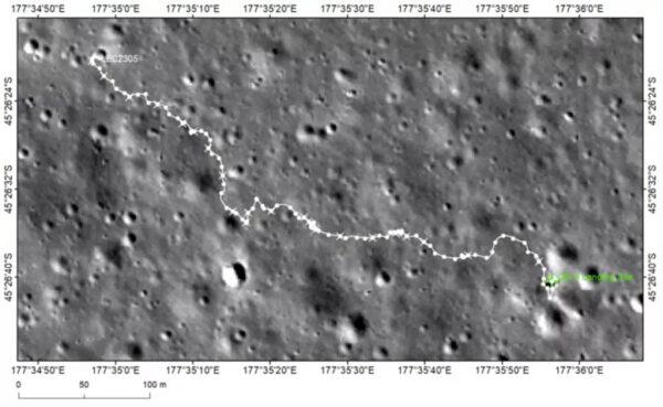 Cesta, kterou Jutu-2 urazil během předchozích 23 lunárních dní (zdroj CLEP).