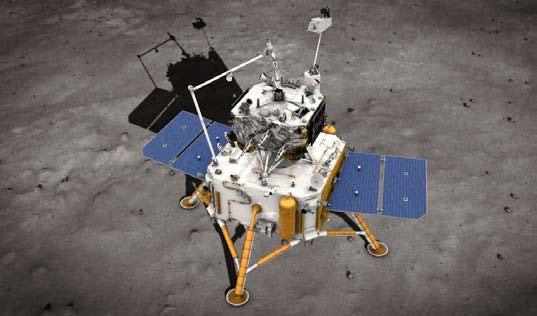 Umělecké zobrazení dvou modulů přistávací částí sondy Čcheng-e 5 (zdroj CNSA/NASA).