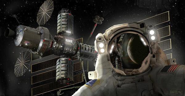 V nadcházejících letech vznikne u Měsíce vesmírná stanice nazvaná Gateway. Na obrázku je pouze její umělecká představa, která neodpovídá realitě.