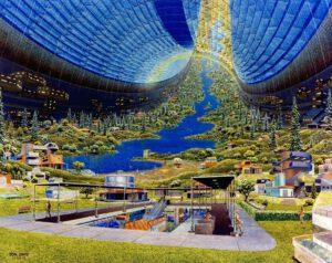 Utopická představa interiéru Stanford Torus z roku 1985.